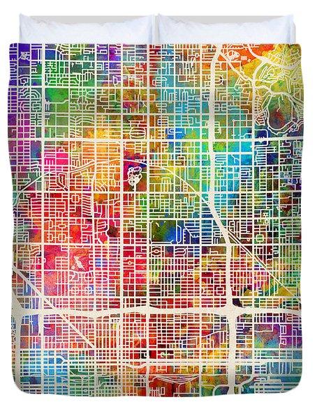 Phoenix Arizona City Map Duvet Cover