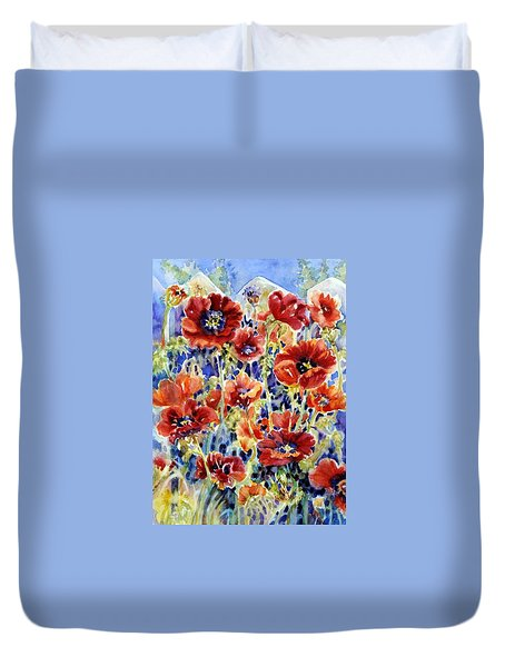 Picket Fence Poppies Duvet Cover