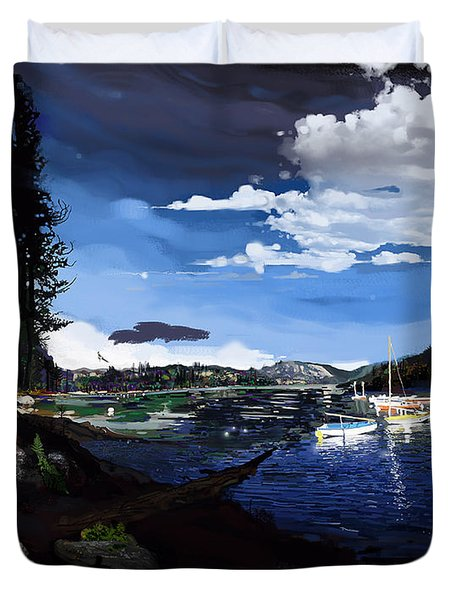 Pinecrest And Boats Duvet Cover