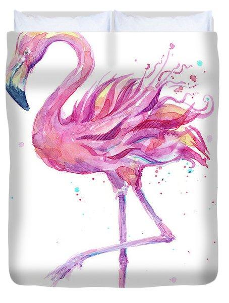Pink Flamingo Watercolor Duvet Cover