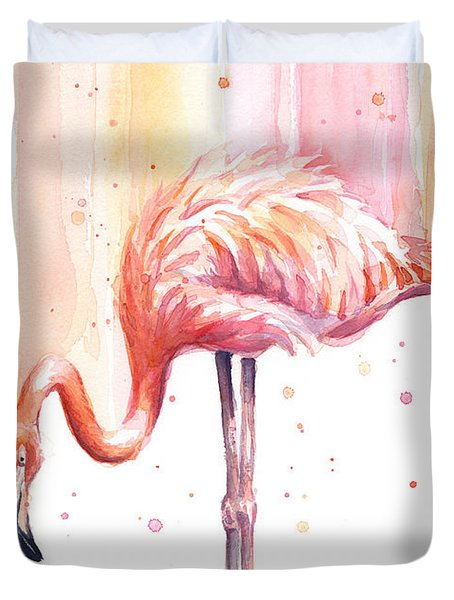 Pink Flamingo Watercolor Rain Duvet Cover
