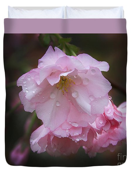Duvet Cover featuring the photograph Pink Flowers by Elvira Ladocki