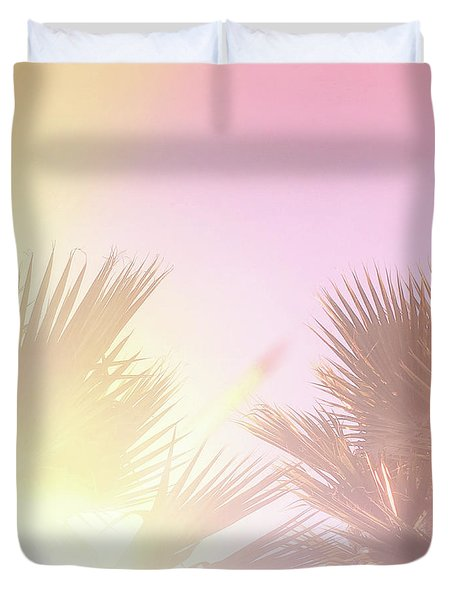 Duvet Cover featuring the photograph Pink Palms 2 by Cindy Garber Iverson