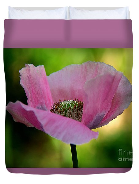 Duvet Cover featuring the photograph Pink Poppy by Lisa L Silva