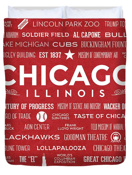 Duvet Cover featuring the digital art Places Of Chicago On Red Chalkboard by Christopher Arndt