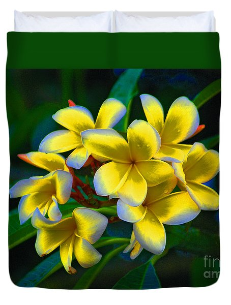 Duvet Cover featuring the photograph 1- Plumeria Perfection by Joseph Keane