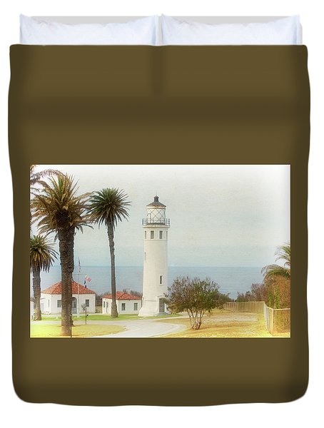 Point Vincente Lighthouse, California In Retro Style Duvet Cover