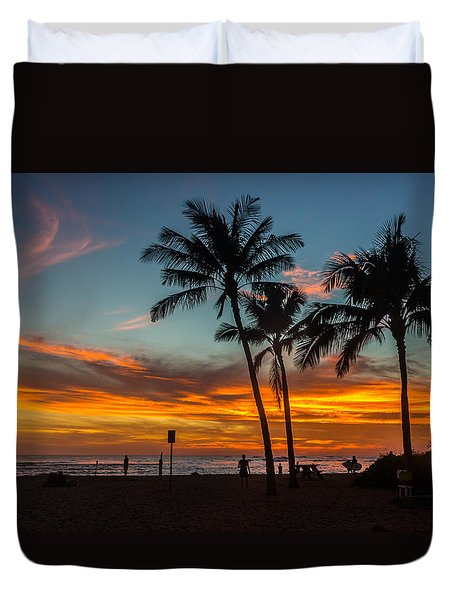 Poipu Beach Sunset - Kauai Hi Duvet Cover