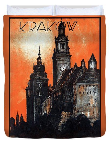 Poland Krakow Vintage Travel Poster Restored Duvet Cover by Carsten Reisinger