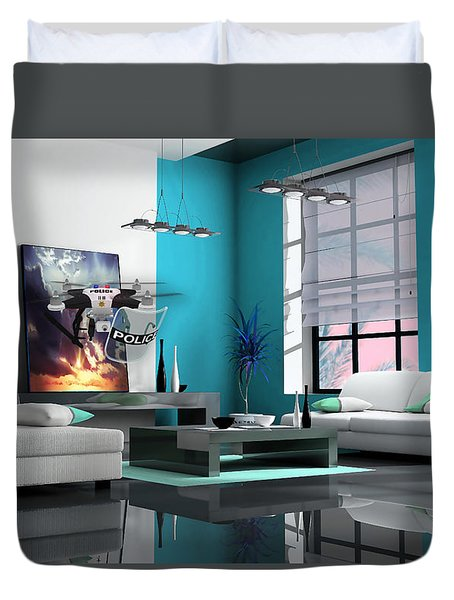 Police Drone Art Duvet Cover by Marvin Blaine