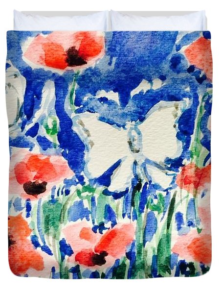Poppies And Butterfly Duvet Cover