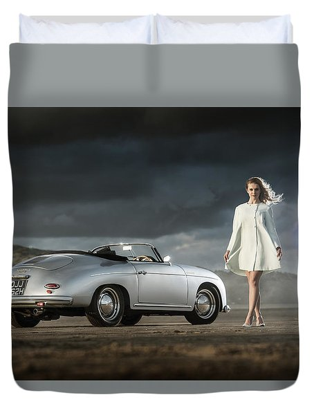Porsche 356 Speedster With Model Duvet Cover