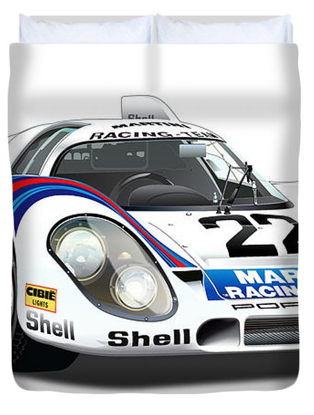 Porsche 917 Illustration Duvet Cover