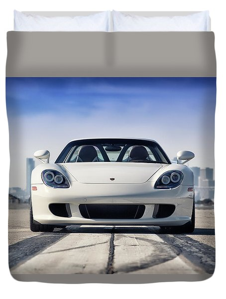 Duvet Cover featuring the photograph #porsche #carreragt by ItzKirb Photography