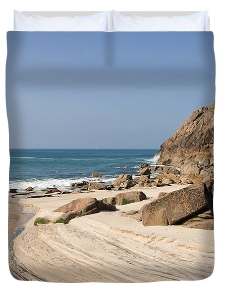 Portheras Beach In Nw Cornwall Duvet Cover