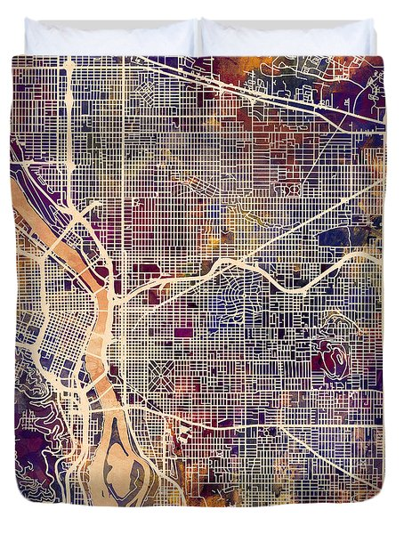 Duvet Cover featuring the digital art Portland Oregon City Map by Michael Tompsett