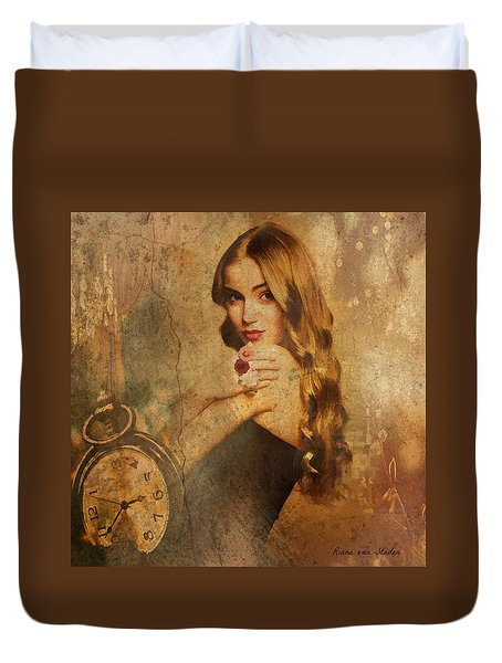 Duvet Cover featuring the digital art Portrait 37 by Riana Van Staden