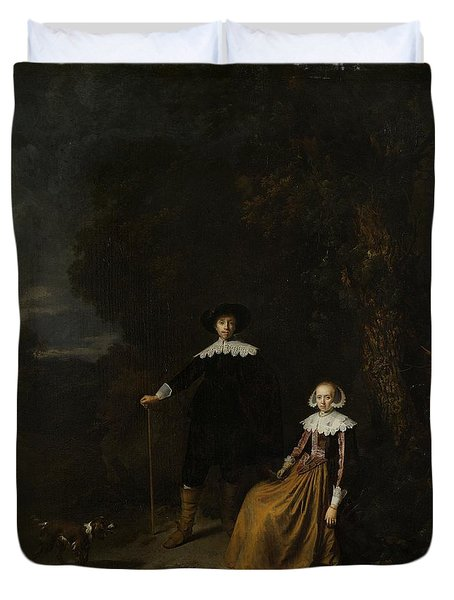 Portrait Of A Couple In A Landscape Duvet Cover by Gerard Dou