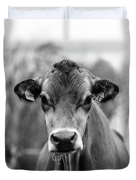 Portrait Of A Dairy Cow In The Rain Stowe Vermont Duvet Cover