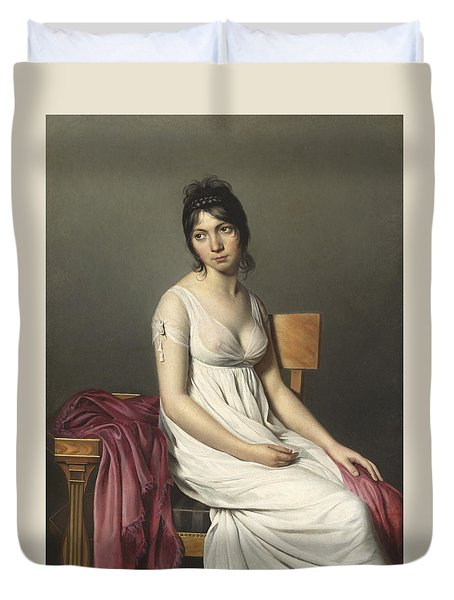 Portrait Of A Young Woman In White Duvet Cover