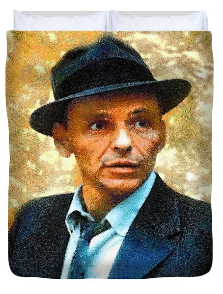 Duvet Cover featuring the digital art Portrait Of Frank Sinatra by Charmaine Zoe