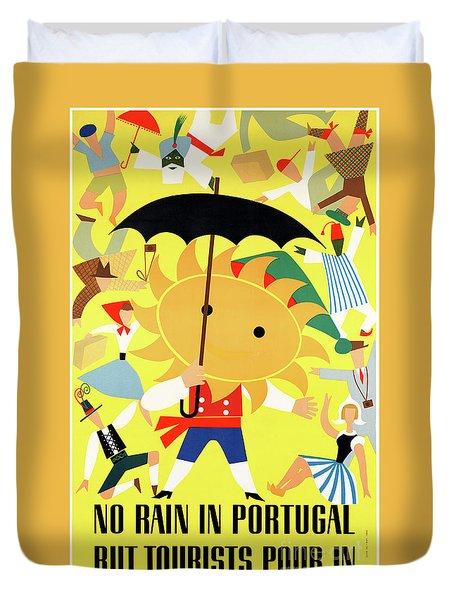 Portugal Vintage Travel Poster Restored Duvet Cover by Carsten Reisinger
