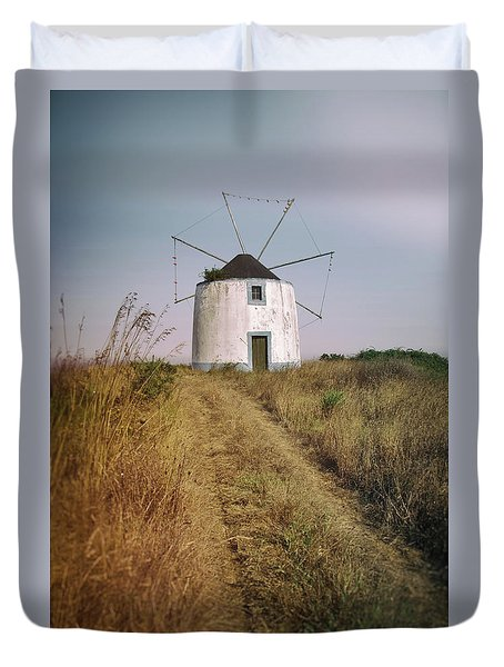 Duvet Cover featuring the photograph Portuguese Windmill by Carlos Caetano