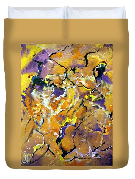 Duvet Cover featuring the painting Praise Dance by Raymond Doward