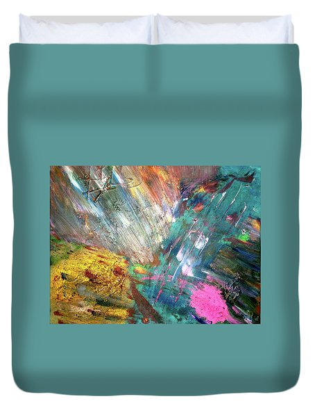 Duvet Cover featuring the painting Prana by Michael Lucarelli