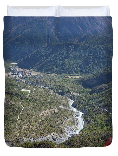 Prayer Flags In The Himalaya Mountains, Annapurna Region, Nepal Duvet Cover