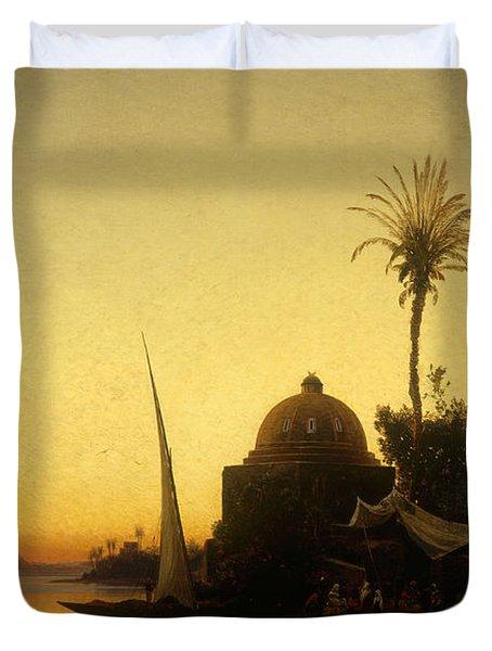 Praying To Mecca Duvet Cover by Herman David Salomon Corrodi