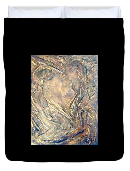 Duvet Cover featuring the painting Prelude by Dawn Fisher