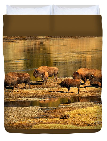 Duvet Cover featuring the photograph Gathering To Cross The Yellowstone River by Adam Jewell