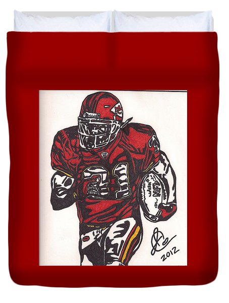 Duvet Cover featuring the drawing Priest Holmes 2 by Jeremiah Colley