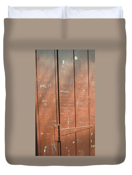 Prison Graffiti Duvet Cover