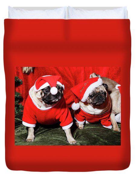 Pugs Dressed As Father Christmas Duvet Cover