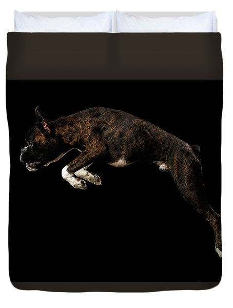 Purebred Boxer Dog Isolated On Black Background Duvet Cover