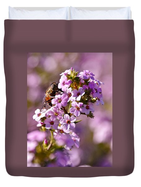 Purple Blossoms And Hoverfly Duvet Cover