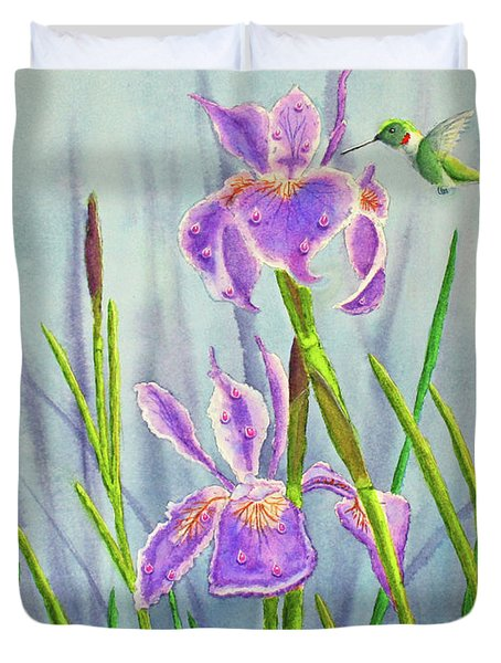 Purple Dutch Iris And Hummer Duvet Cover by Kathryn Duncan