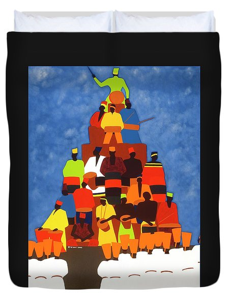 Pyramid Of African Drummers Duvet Cover
