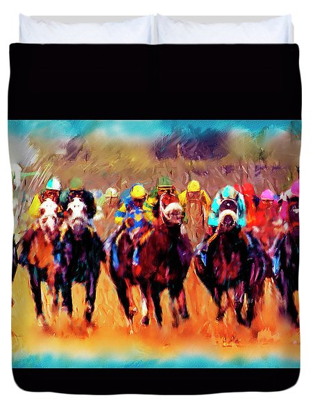 Race To The Finish Duvet Cover