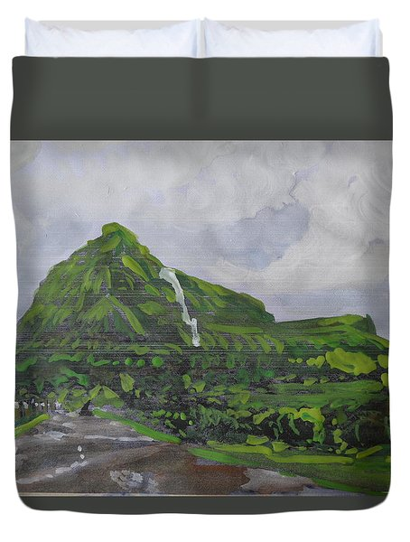 Duvet Cover featuring the painting Visapur Fort by Vikram Singh