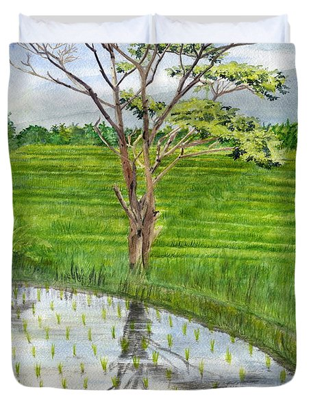 Duvet Cover featuring the painting Rain Tree On The Way To Ubud Bali Indonesia by Melly Terpening