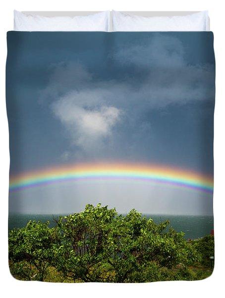 Rainbow At Portland Headlight Duvet Cover