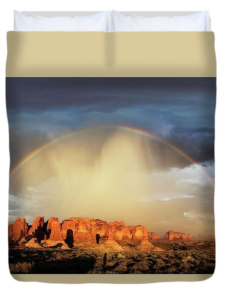 Rainbow Over Garden Of Eden Duvet Cover