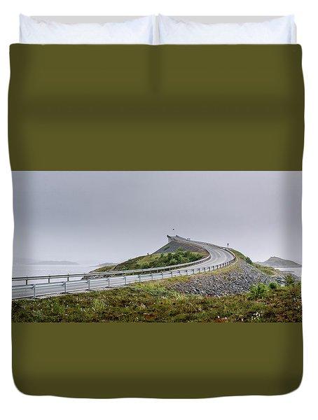 Rainy Day On Atlantic Road Duvet Cover