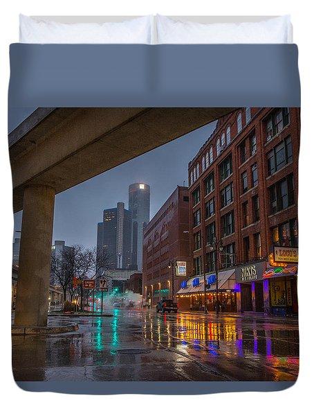 Rainy Night In Detroit  Duvet Cover