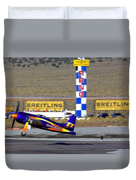 Rare Bear Take-off Sunday's Unlimited Gold Race Duvet Cover