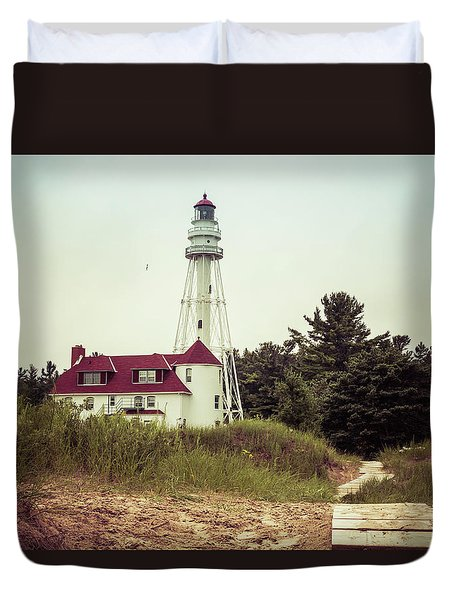 Duvet Cover featuring the photograph Rawley Point Lighthouse by Joel Witmeyer