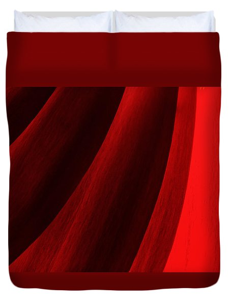 Red Chrysanthemum Dawn Rising Duvet Cover